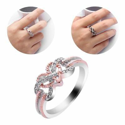 925 Silver Rose Gold Filled Heart Infinity Rings White Sapphire Wedding Lady New