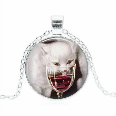 Cat Drinking Wine Tibet silver Glass dome Necklace chain Pendant Wholesale