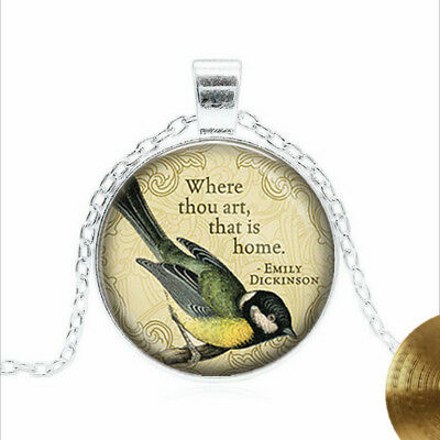 Emily Dickinson Tibet silver Glass dome Necklace chain Pendant Wholesale