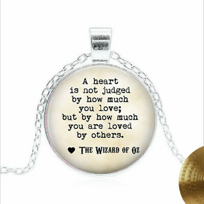 Wizard of Oz Quote Tibet silver Glass dome Necklace chain Pendant Wholesale