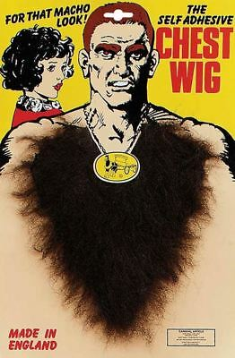 Fancy Dress Brown Curly Chest Hair Wig Cassanova 80's Macho Joke V Neck 118 118