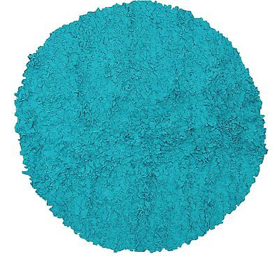 The Rug Market Shaggy Raggy Teal Area Rug  Size 4'x4' ROUND
