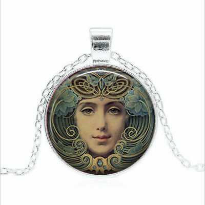 Steampunk Portrait Tibet silver Glass dome Necklace chain Pendant Wholesale