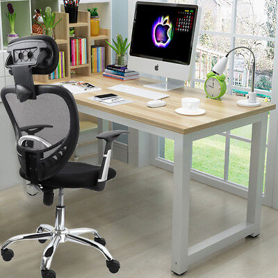 Home Office Desk Metal Frame Computer PC Laptop Workstation Study Writing Table