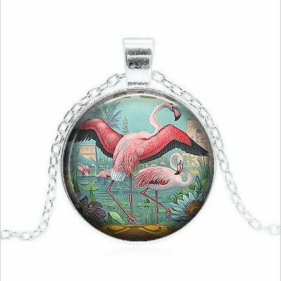 Flamingos in Paradise Tibet silver Glass dome Necklace chain Pendant Wholesale