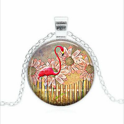 Flamingo Garden Tibet silver Glass dome Necklace chain Pendant Wholesale