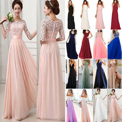 Women's Lace Long Formal Wedding Evening Ball Gown Party Prom Bridesmaid Dresses