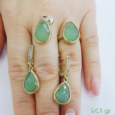 925 Sterling Silver  Handmade Jewelry Chalcedony Green Ladies Set