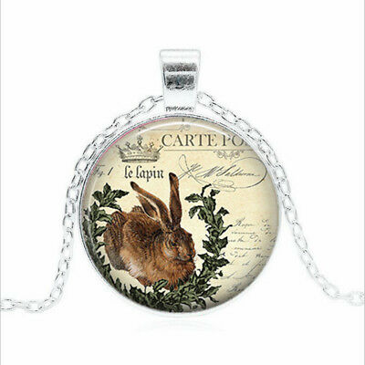 French Easter Bunny Tibet silver Glass dome Necklace chain Pendant Wholesale