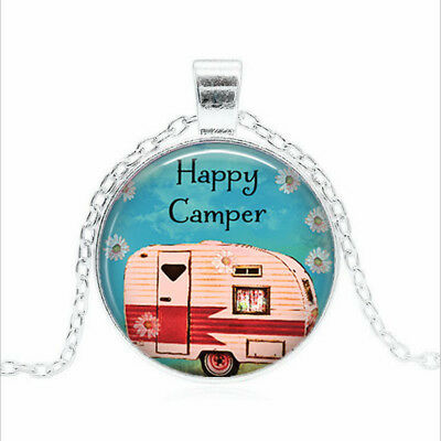 Happy Camper Tibet silver Glass dome Necklace chain Pendant Wholesale