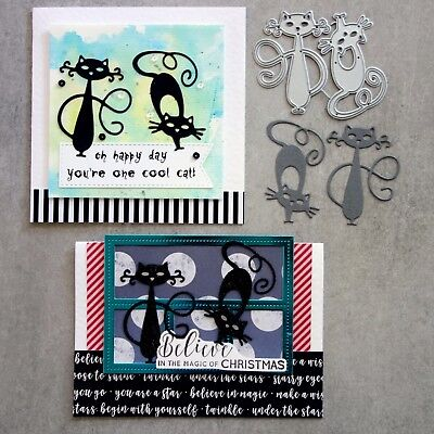 """""""clearance"""" Shopaperartz Two Cool Cats Cat Cutting Dies Birthday Christmas"""