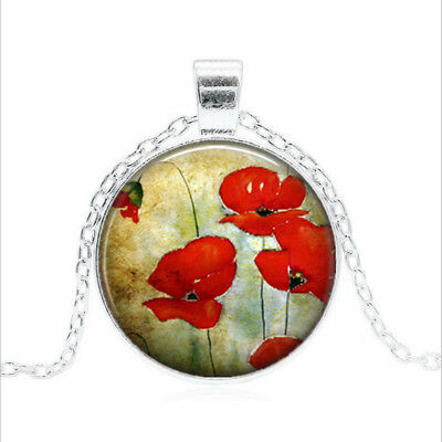 Watercolor Poppies Tibet silver Glass dome Necklace chain Pendant Wholesale