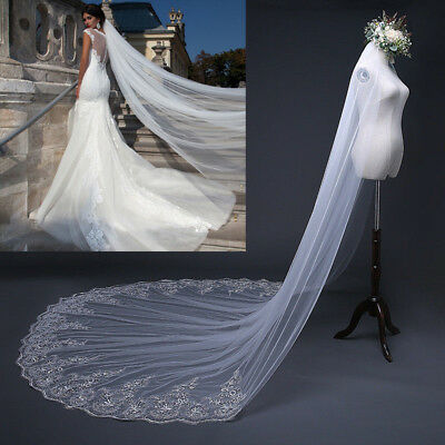 3M Long White Ivory Bridal Wedding Veil Cathedral Applique Edge Sequin Lace Comb