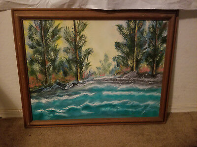 Hal Sr Oil On Canvas Tropical Scene W/ Ocean Water, Trees Signed And Framed EUC