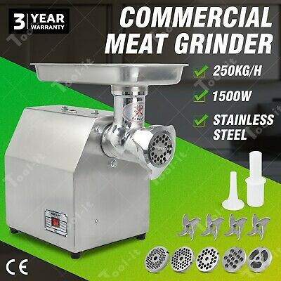 1200W 1.6HP Commercial Meat Mincer - Electric Grinder & Sausage Maker Filler OZ