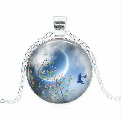 Spring Equinox Tibet silver Glass dome Necklace chain Pendant Wholesale