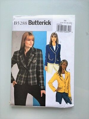 Butterick B5288 Ladies Jacket, Sizes 14-20,NEW,Easy,Unopened,uncut Patterns