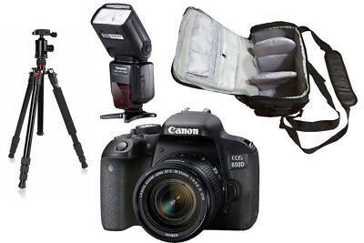 NEW Canon 800D + 18-55mm IS STM + Bag + Flash + Tripod UK NEXT DAY DELIVERY