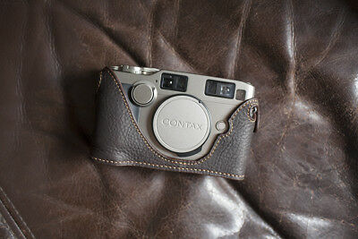 Handmade Genuine Real Leather Half Camera Case Bag Cover for Contax G2