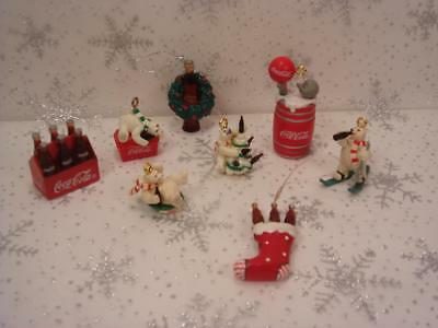 Lot Of 8 Coca Cola  Miniature Christmas Ornaments Mixed Sizes And Styles