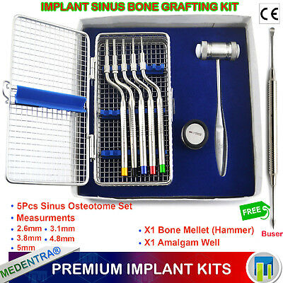 Dental Sinus Lift Osteotomes Offset Concave Implant Hammer Periosteal Elevators