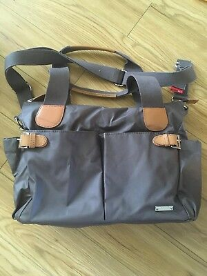 Storksak Changing Bag Grey nylon and leather