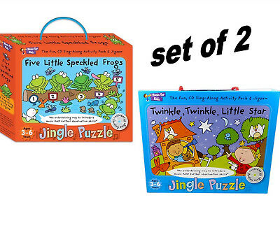 Set of 2 Jingle Puzzles & Bedtime Stories CD Books Toddler Learning school Toys