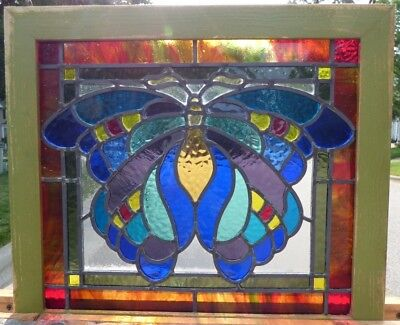Victorian butterfly leaded stained glass window