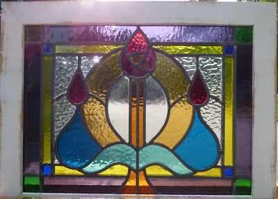 Victorian Macintoch rose bud leaded stained glass window