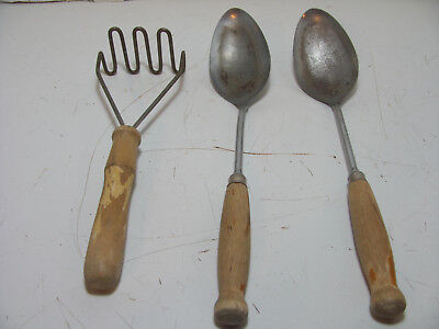 Lot Of 3 Vintage Wooden Handled Kitchen Utensils Ekco A & J