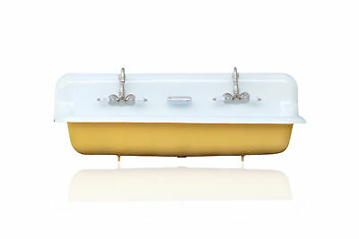 """Large 48"""" India Yellow Antique Inspired Farm Sink Cast Iron Trough Sink Package"""