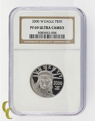 2000-W Platinum 1/2 Ounce P$50 Statue of Liberty Graded by NGC as PF69 UCAM
