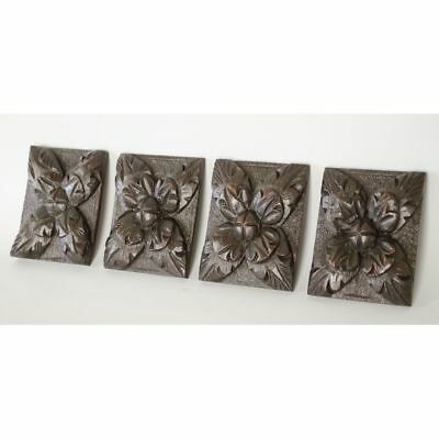 Set of 4 Antique Carved Oak French Louis XIII style Decorative Appliques