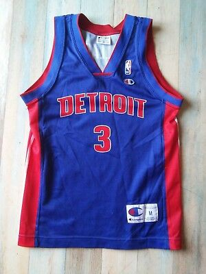 Maillot BASKET BALL CHAMPION NBA DETROIT N°3 WALLACE TAILLE/9/10 ans TBE