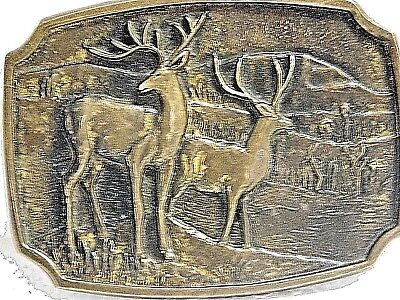 VINTAGE 1978 Solid Brass Belt Buckle Signed BTS Made in USA White Tail BUCK Deer