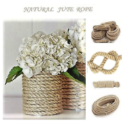 5 Sizes Natural Jute Rope Braided Twisted Garden Boating Decoration Cord Art