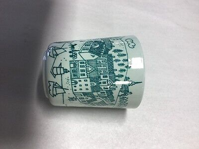 Hoyrup Nymolle Art Faience Cup     Denmark  #4006    City Scene Sailboats Church