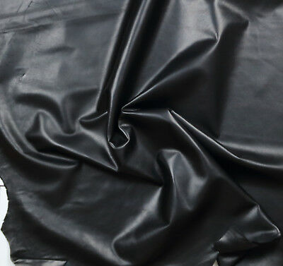 Smooth BLACK nappa Satin finish 0.7mm  Economical BARKERS HIDE & LEATHER N311