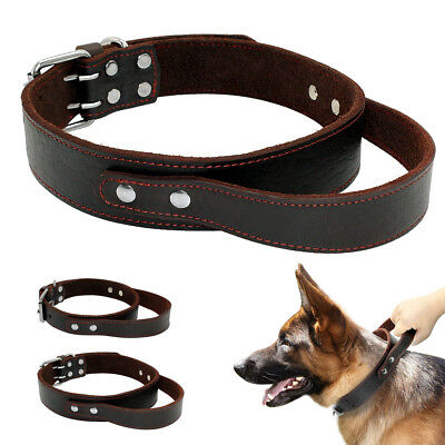 Heavy Duty Leather Dog Collars with Handle Quick Control for Large Pets Pit Bull