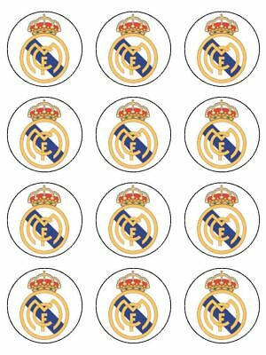 """Real Madrid Edible Icing, Cup Cake Toppers 12 x 2"""""""