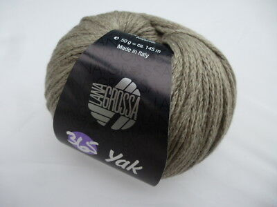 Lana Grossa 365 Yak 50g kettengarn in COTTON COLOUR 009 Mint//Gray
