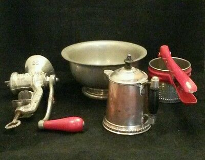 Vintage Red National Meat Grinder-Potato Masher-Pairpoint Bowl-Rochester NY Pot