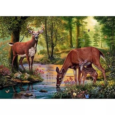 Diamond Painting, 50x40 Full square stones baby deers in forest many colors
