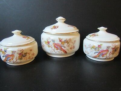 3 Crown Ducal vintage blushware powder bowls. Bird of Paradise pattern.