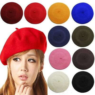 Vintage Unisex Men Women Woolen Warm Beret Beanie Hat Cap French Style Colorful