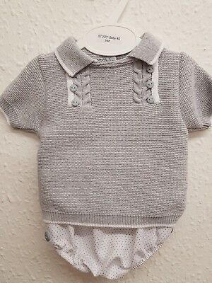 Baby Boys  Gorgeous  Spanish  Knitted  2  Piece  Jam  Suit Grey / White    New