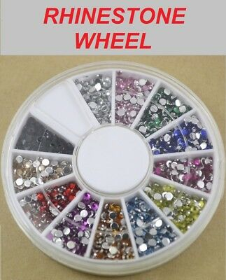 RHINESTONE WHEEL - Acrylic Crystal Diamante Flat Back Gems - 12 Colours 3 Sizes
