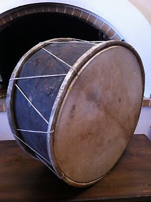 ANTIQUE DRUM PERCUSSION HANDMADE WOOD CARVED , LEATHER.LARGE 21 inches.