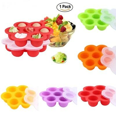 7 Cavities Silicone Baby Food Storage Container With Lid Freezer Ice Cube Trays