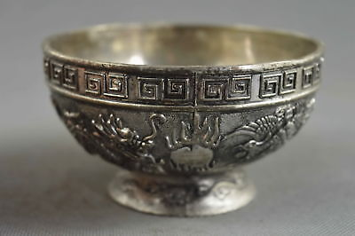Collectable Handwork Decor Old Miao SIlver Carve Dragon & Phoenix Exorcism Bowl